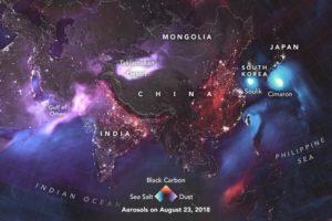 Aerosols around the world on August 23, 2018.NASA