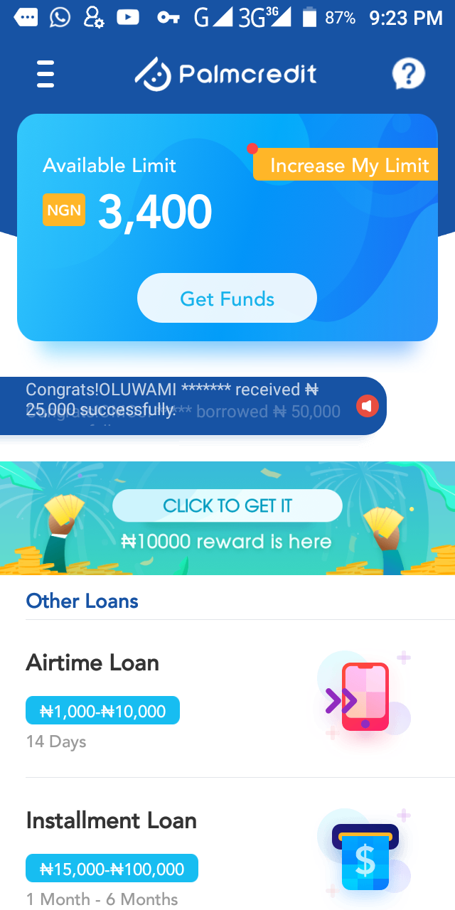 Borrow Loan on Palm credit in Nigeria