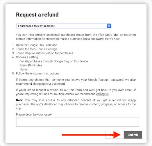Request Refund Submit