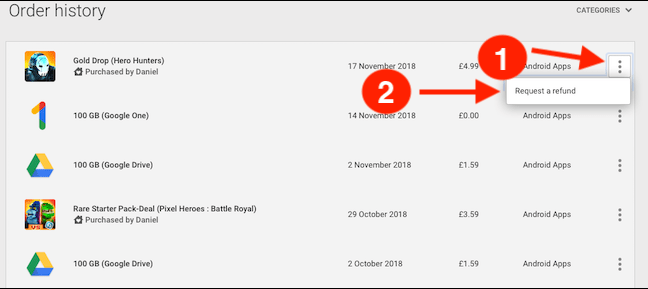 Google Play Store Order History